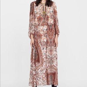 NWT Zara Printed Midi Dress